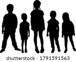 silhouette of children on white ... | Shutterstock . vector #1791591563