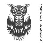 hand drawing owl in tattoo... | Shutterstock .eps vector #1791608579