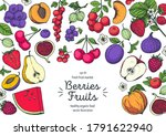 berries and fruits colorful... | Shutterstock .eps vector #1791622940
