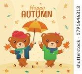 happy autumn backgound concept. ...   Shutterstock .eps vector #1791646313