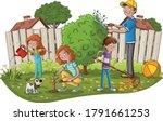Cartoon Family Gardening....