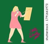 girl in pink dress drinks water ... | Shutterstock .eps vector #1791661973