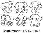 set of baby elephants.... | Shutterstock .eps vector #1791670160