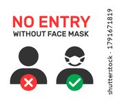 no entry without face mask...   Shutterstock .eps vector #1791671819
