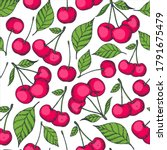 seamless pattern with cherries... | Shutterstock .eps vector #1791675479