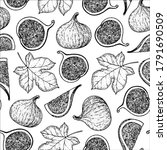 seamless pattern with fig fruit ... | Shutterstock .eps vector #1791690509