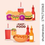 poster  set of delicious fast...   Shutterstock .eps vector #1791710363