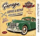 vintage garage retro banner | Shutterstock .eps vector #179172749