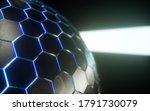 metallic hexagon sphere  blue...