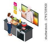 isometric cooking education... | Shutterstock .eps vector #1791735920