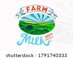 milk meadow. farm rural... | Shutterstock .eps vector #1791740333