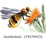 Bee Over Flower Watercolor...