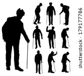 vector silhouette of old people ... | Shutterstock .eps vector #179177786