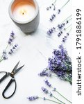 Lavender Flowers  Candle And...