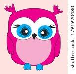 Cute Pink Owl Design Vector...