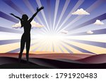 successful woman standing on... | Shutterstock .eps vector #1791920483
