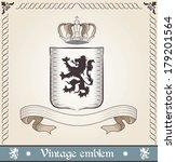 vintage emblem with lion | Shutterstock .eps vector #179201564