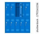 Blue Metal Cabinets With One...