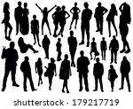 people silhouettes set | Shutterstock .eps vector #179217719