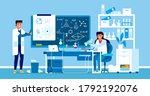 two scientists working at... | Shutterstock .eps vector #1792192076