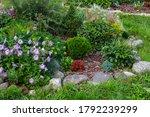 Rock Garden Flowerbed With Red...