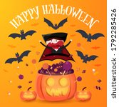 boy in vampire costume jump on...
