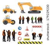 set of road under construction. ... | Shutterstock .eps vector #179229230