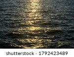 Sea Waves At Sunset. Disturbed...