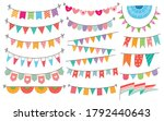 cute bunting flag in doodle... | Shutterstock .eps vector #1792440643