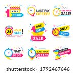 countdown badges set with clock ... | Shutterstock .eps vector #1792467646