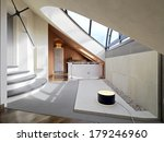 Modern Attic Room With Wood...