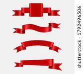 set of red ribbons with pattern   Shutterstock .eps vector #1792496506