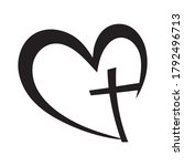 cross heart icon. christian... | Shutterstock .eps vector #1792496713