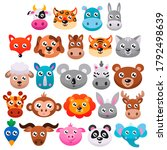 big set of cute cartoon animals....   Shutterstock .eps vector #1792498639