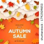 autumn sale orange background... | Shutterstock .eps vector #1792509853