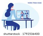 woman stay and work from home... | Shutterstock .eps vector #1792536400