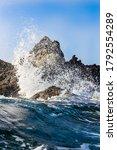 Wave Crashing On Rocks  Shot...