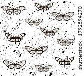 butterflies seamless pattern... | Shutterstock .eps vector #1792594270