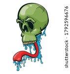 skull with slobbering long... | Shutterstock .eps vector #1792596676