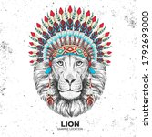 hipster animal lion with indian ...   Shutterstock .eps vector #1792693000