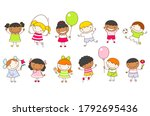 vector illustration with multi... | Shutterstock .eps vector #1792695436