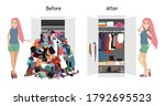 untidy and after tidy wardrobe... | Shutterstock .eps vector #1792695523