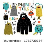 cartoon furry monsters. cute... | Shutterstock .eps vector #1792720399