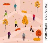 Park Walking. People In Autumn...