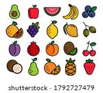 fruits icons outline collection ... | Shutterstock .eps vector #1792727479