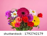 Floral Bouquet On A Pink...