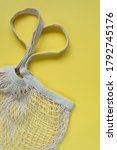 knitted string bag on a yellow... | Shutterstock . vector #1792745176