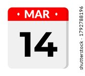 march 14 calendar icon  vector... | Shutterstock .eps vector #1792788196