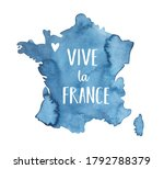 Navy Blue Map Of France With...