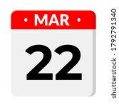 22 march calendar icon  vector... | Shutterstock .eps vector #1792791340